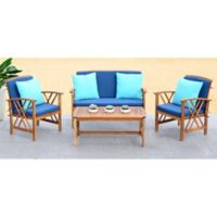 Safavieh Fontana 4-Piece All-Weather Set in Teak/Navy