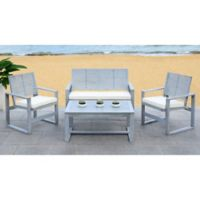 Safavieh Ozark 4-Piece All-Weather Living Set in Grey Wash