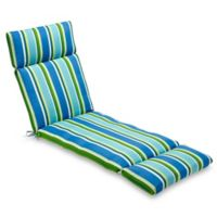 Stripe Chaise Indoor/Outdoor Chair Cushion in Ocean