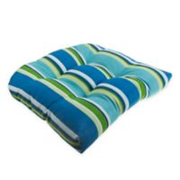 Stripe U Rounded Back Wicker Indoor/Outdoor Chair Cushion in Ocean Blue