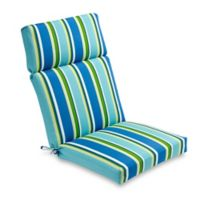 Stripe Outdoor High Back Chair Cushion in Ocean