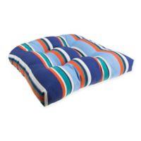 Stripe U Rounded Back Wicker Indoor/Outdoor Chair Cushion in Cobalt