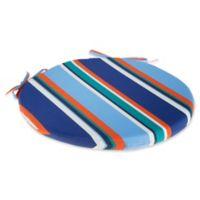 Stripe Bistro Indoor/Outdoor Chair Cushion in Cobalt