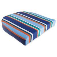 Stripe Outdoor Wicker Seat Cushion in Cobalt