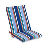 Stripe Indoor/Outdoor Folding Wicker Chair Cushion in Cobalt