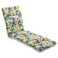 Print Indoor/Outdoor Chaise Lounge Chair Cushion in Calais Cobalt