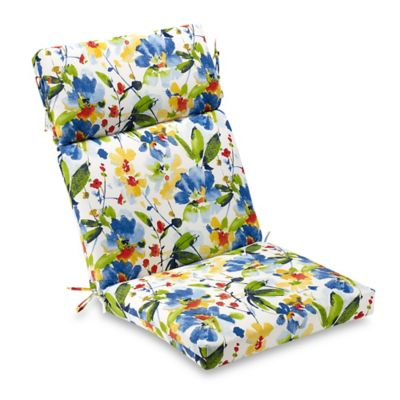 Calais Indoor/Outdoor Floral High Back Cushion In Cobalt