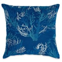 Print Indoor/Outdoor 17-Inch Square Throw Pillow in Sea Coral Cobalt