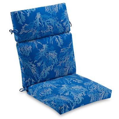 Sea Coral Outdoor High Back Chair Cushion In Cobalt