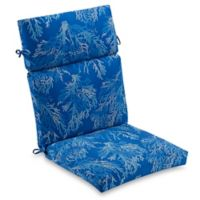 Outdoor High Back Chair Cushion in Cobalt Sea Coral