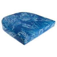 Print Indoor/Outdoor Stacking Wicker Seat Cushion in Cobalt Sea Coral