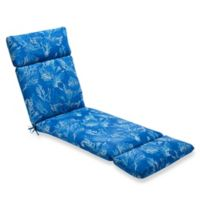 Print Indoor/Outdoor Chaise Lounge Chair Cushion in Sea Coral Cobalt