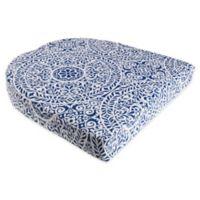 Print Indoor/Outdoor Stacking Wicker Seat Cushion in Tachenda Indigo
