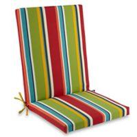 Stripe Indoor/Outdoor Folding Wicker Chair Cushion in Cherry