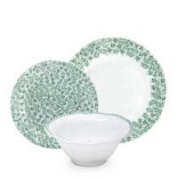 Q Squared Melamine Yultetide12-Piece Dinnerware Set in Green/White
