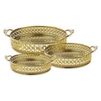 Classic Touch Relic 3-Piece Mirrored Oval Tray Set in Gold