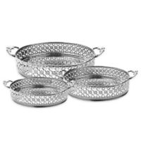 Classic Touch Relic 3-Piece Mirrored Handled Tray Set in Silver