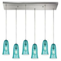 ELK Lighting Hammered Glass 6-Light Pendant in Satin Nickel with Teal Shades