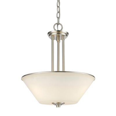 Filament design sandra 3 light pendant light in brushed nickel with matte opal glass shade