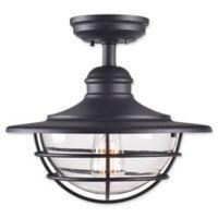 Kenroy Home Eli Semi-Flush Outdoor Light in Black
