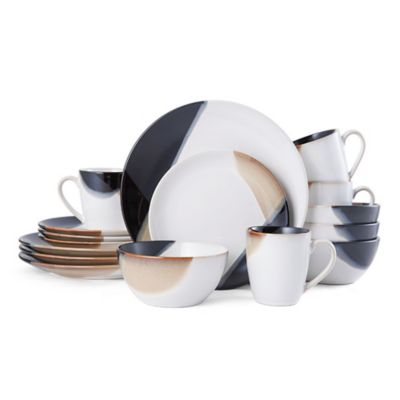 Gourmet Basics by Mikasa® Caden 16-Piece Dinnerware Set in White/Brown  sc 1 st  Bed Bath u0026 Beyond & Buy Black Brown Dinnerware from Bed Bath u0026 Beyond