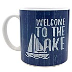 """Welcome to the Lake"" Mug in Dark Blue"