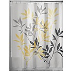 InterDesign® 72-Inch x 72-Inch Leaves Fabric Shower Curtain in Grey