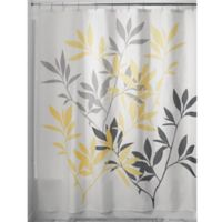 iDesign® 72-Inch x 72-Inch Leaves Fabric Shower Curtain in Grey