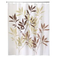 iDesign® 72-Inch x 72-Inch Leaves Fabric Shower Curtain in Brown