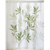 iDesign® 72-Inch x 72-Inch Leaves Fabric Shower Curtain in Green