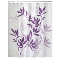 iDesign® 72-Inch x 72-Inch Leaves Fabric Shower Curtain in Purple