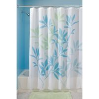 iDesign® 72-Inch x 72-Inch Leaves Fabric Shower Curtain in Blue/Green