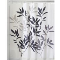 iDesign® 72-Inch x 72-Inch Leaves Fabric Shower Curtain in Black