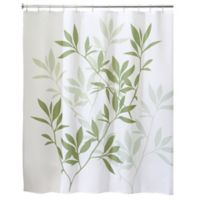 iDesign® 72-Inch x 84-Inch Long Leaves Fabric Shower Curtain in Green