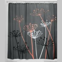 iDesign® 72-Inch x 72-Inch Thistle Fabric Shower Curtain in Coral