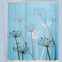 iDesign® 72-Inch x 72-Inch Thistle Fabric Shower Curtain in Black