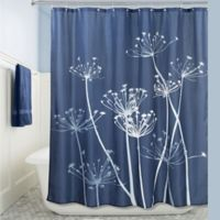 iDesign® 72-Inch x 72-Inch Thistle Fabric Shower Curtain in Navy