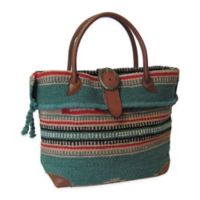 Odyssee Wool & Leather Tote Bag in Turquoise