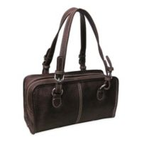 Amerileather Classy Belt Stitched Leather Satchel in Brown