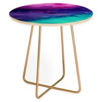 Deny Designs Jacqueline Maldonado The Sound Round Side Table in Goldtone/Purple