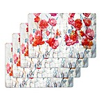 Floral Laminate Placemats in Red (Set of 4)