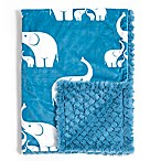 Baby Laundry® Minky Elephant/Tile Blanket in Coastal Blue
