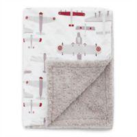 Baby Laundry® Minky Aviator/Plush Blanket in White/Taupe