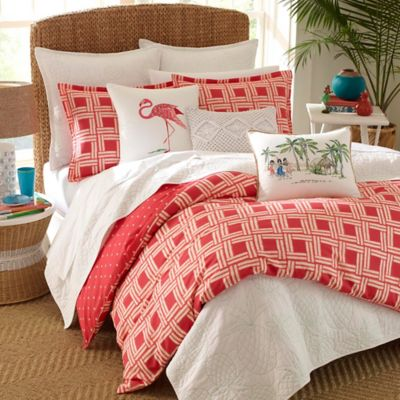 Nine Palms Sunrise Reversible Full/Queen Comforter Set In Bright Red