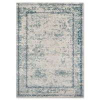 Momeni Luxe Distressed Border 3'11 x 5'7 Area Rug in Blue