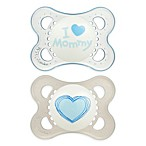 MAM Love & Affection Age 0-6 Months I Love Mommy Pacifier in Blue (2-Pack)