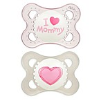 MAM Love & Affection Age 0-6 Months I Love Mommy Pacifier in Pink (2-Pack)