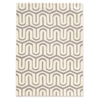 Linon Home Geo Collection Quatrefoil 5' x 7' Area Rug in Grey/White