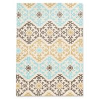 Linon Home Geo Medallion 2' x 3' Accent Rug in Grey/Yellow