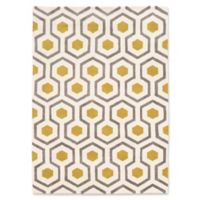 Linon Home Geo Honeycomb 5' x 7' Area Rug in Ivory/Gold